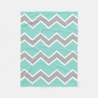 Aqua Blue Gray Grey Chevron Print Pattern Girl Fleece Blanket