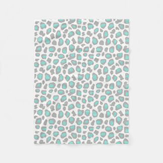 Aqua Blue Gray Grey Leopard Animal Print Pattern Fleece Blanket