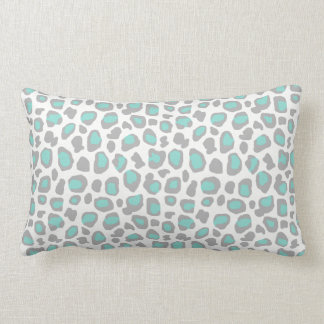 Aqua Blue Gray Grey Leopard Animal Print Pattern Lumbar Cushion