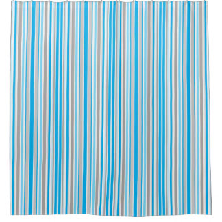 Aqua Blue Gray White Stripe Shower Curtain Bath