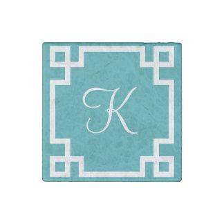 Aqua Blue Greek Key Monogram Marble Magnet Stone Magnet