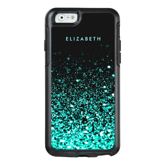Aqua Blue Green Glitter Black Trendy Chic OtterBox