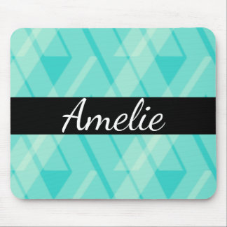 Aqua Blue Green Plaid Name Mousepad