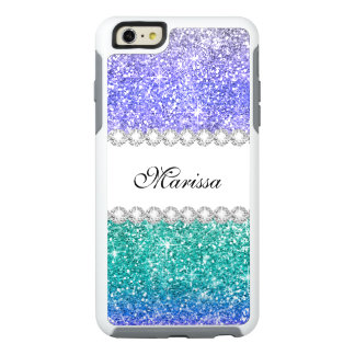 Aqua Blue Green Purple Stylish Glitter Sparkles OtterBox iPhone 6/6s Plus Case