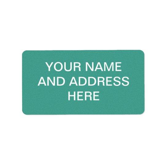 "Aqua/blue-green ""sand grains"" background address label"