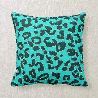 Aqua Blue-Green, Turquoise Leopard Animal Print Cushion