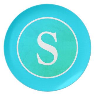 Aqua Blue & Green Vintage Circle & Monogram Dinner Plates