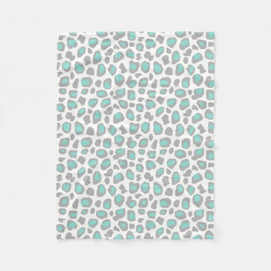 Aqua Blue Grey Grey Leopard Animal Print Pattern