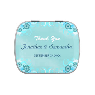 Aqua Blue Hibiscus Floral Wedding Favor Candy Tins Jelly Belly Tin