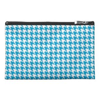 Aqua Blue Houndstooth Travel Accessories Bags