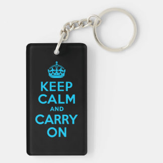 Aqua Blue Keep Calm and Carry On Double-Sided Rectangular Acrylic Key Ring