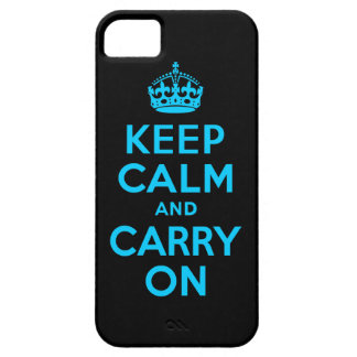Aqua Blue Keep Calm and Carry On iPhone 5 Case