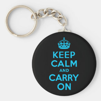 Aqua Blue Keep Calm and Carry On Key Ring