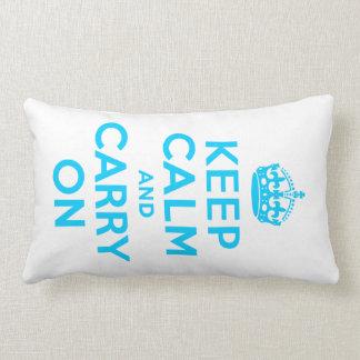 Aqua Blue Keep Calm and Carry On Lumbar Cushion