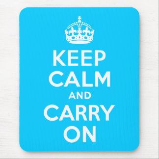 Aqua Blue Keep Calm and Carry On Mouse Mat
