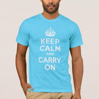 Aqua Blue Keep Calm and Carry On T-Shirt
