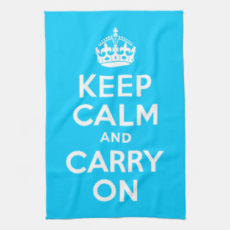 Aqua Blue Keep Calm and Carry On Tea Towel
