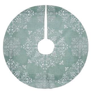 Aqua Blue & Lace Snowflake Design Tree Skirt Brushed Polyester Tree Skirt