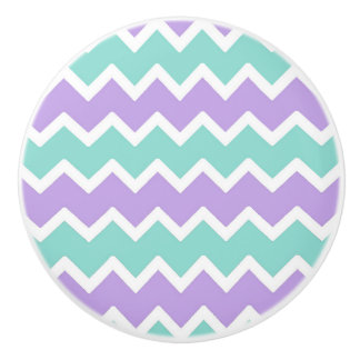 Aqua Blue Lavender Purple Chevron Zigzag Pattern Ceramic Knob