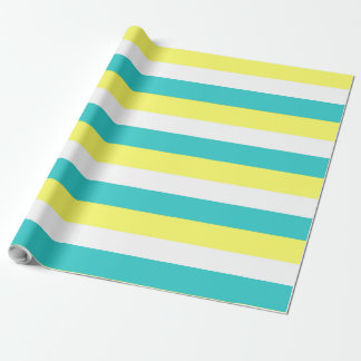 Aqua Blue, Lemon Yellow and White Stripes Wrapping Paper