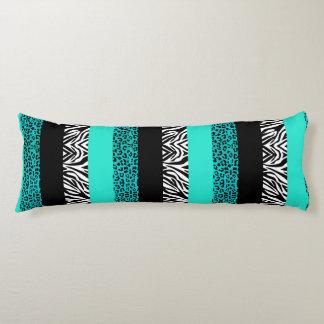 Aqua Blue Leopard and Zebra Animal Print Body Cushion