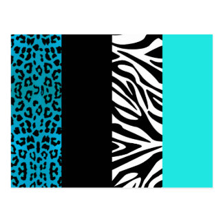 Aqua Blue Leopard and Zebra Animal Print Postcard