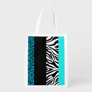 Aqua Blue Leopard and Zebra Animal Print Reusable Grocery Bag