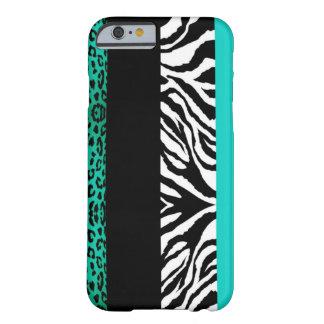 Aqua Blue Leopard and Zebra Custom Animal Barely There iPhone 6 Case