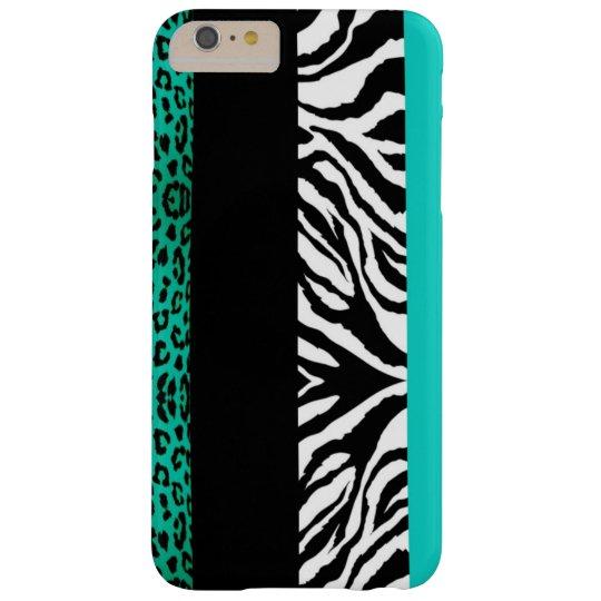 Aqua Blue Leopard and Zebra Custom Animal Print Barely There iPhone 6 Plus Case