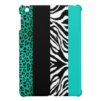 Aqua Blue Leopard and Zebra Custom Animal Print iPad Mini Cover