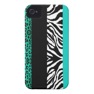 Aqua Blue Leopard and Zebra Custom Animal Print iPhone 4 Case-Mate Case