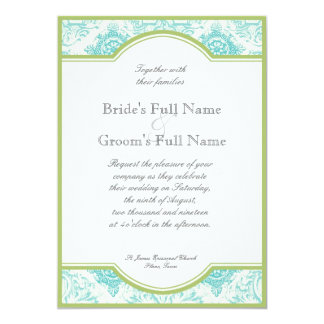 Aqua Blue Lime Iris Quatrefoil Wedding Invite