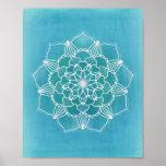 Aqua Blue Mandala Flower Geometric Circle Art Poster
