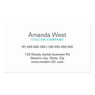 Aqua blue modern generic simple elegant personal pack of standard business cards