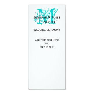 Aqua Blue Monogram Names Wedding Programs 10 Cm X 24 Cm Invitation Card