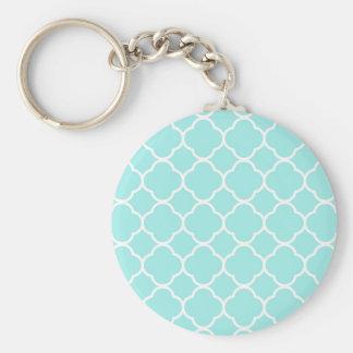 Aqua Blue Moroccan Pattern Key Ring