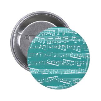 Aqua Blue music notes 6 Cm Round Badge