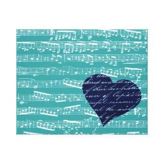 Aqua Blue music notes Gallery Wrap Canvas