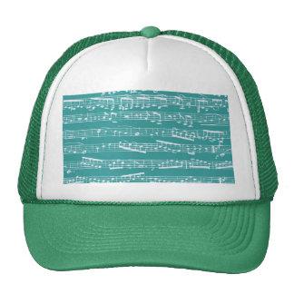 Aqua Blue music notes Trucker Hat