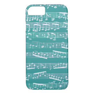 Aqua Blue music notes iPhone 7 Case
