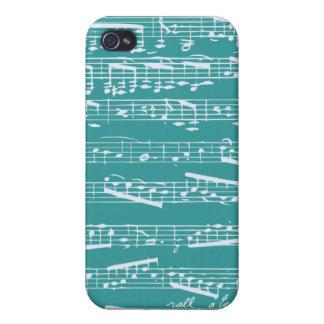 Aqua Blue music notes iPhone 4 Covers
