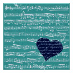 Aqua Blue music notes Poster