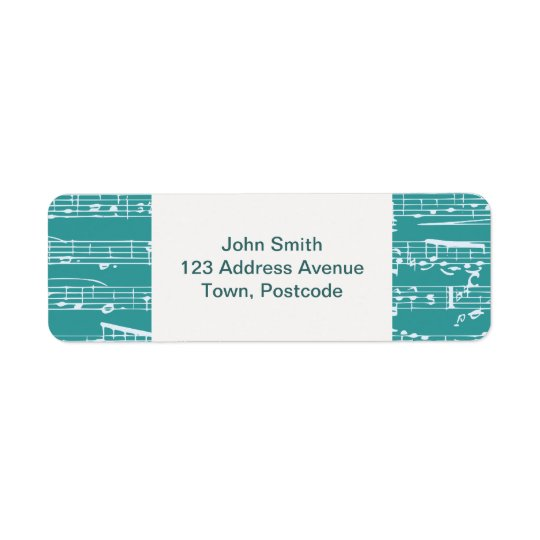 Aqua Blue music notes Return Address Label