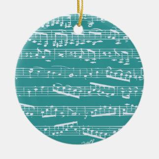 Aqua Blue music notes Round Ceramic Decoration