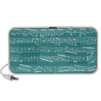 Aqua Blue music notes Portable Speakers