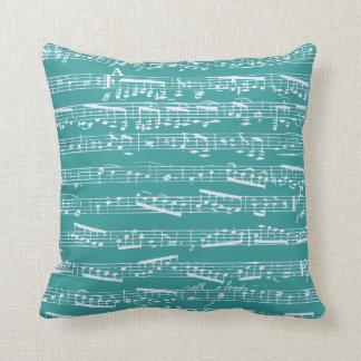 Aqua Blue music notes Throw Pillow