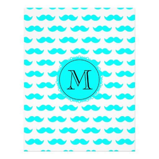 Aqua Blue Mustache Pattern, Aqua Black Monogram Flyer