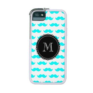 Aqua Blue Mustache Pattern, Black White Monogram Case For iPhone 5