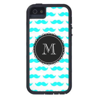 Aqua Blue Mustache Pattern, Black White Monogram iPhone 5 Cover