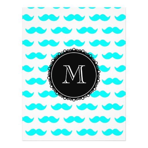 Aqua Blue Mustache Pattern, Black White Monogram Full Color Flyer